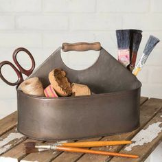 Craft Room Caddy with Handle -   Our vintage inspired Craft Room Caddy is divided into four sections. Sections are not removable. Use this for hardware, sewing or craft supplies, or as a serving tray.