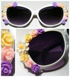 Summer Lovin: Inject your style with some flower power! These heavily embellished floral sunglasses are retro-chic.