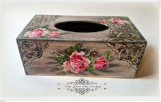 """Stary Kredens - Blog - Decoupage: Chustecznik - szarości , """"koronki """" i róże w stylu vintage - Decoupage"""
