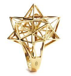 """Framework Star Diamond Ring""Verahedra series statement ring in 18K yellow gold with 1 round white diamond at 3.0 mm (0.13 carats).    http://johnbrevard.com/framework-star-diamond-ring"