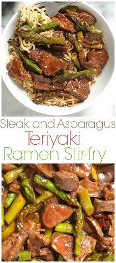 and Asparagus Teriyaki Ramen Steak and Asparagus Teriyaki Ramen - This is easy to make at home, healthy, ans SO much tastier than take-out!Steak and Asparagus Teriyaki Ramen - This is easy to make at home, healthy, ans SO much tastier than take-out! Ramen Recipes, Asian Recipes, Beef Recipes, Dinner Recipes, Cooking Recipes, Healthy Recipes, Healthy Food, Leftover Steak Recipes, Healthy Ramen