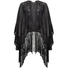 NOOKI Kendal Kimono - Black (935 ARS) ❤ liked on Polyvore featuring jackets, cardigans, kimono, tops, outerwear and black
