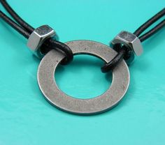 black leather, washer & hex nut ~ Nice necklace for a man or woman. Industrial/biker gear. Cool!