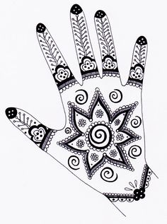 This fun Henna Hand Designs Art Lesson shows you how to create a self-portrait of your hands filled with abstract patterns. See samples of henna tattoo designs for inspiration! Henna Hand Designs, Henna Tattoo Designs, Mehndi Designs, Henna Tattoos, Art Tattoos, Tatoos, Mehndi Book, Mehndi Art, Mehendi