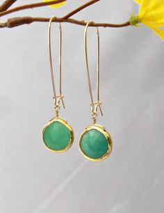 Vermeil Chrysoprase Earrings with Bezel Set and by PiecesByEmily, $45.00