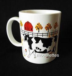 Cow Coffee Mug Farm Animals Barn Birds Nature Pasture Cows E Rosen Vintage 1996 #Cows