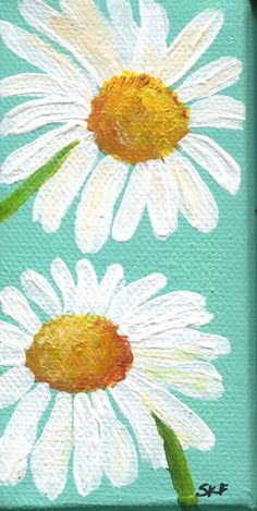 White Shasta Daisy Painting on Aqua Original on canvas, mini easel, acrylics miniature painting, Daisies Painting, acrylic painting