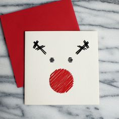 A little black and red thread makes a minimalist Christmas card extra cheerful. Christmas Card Crafts, Homemade Christmas Cards, Christmas Greeting Cards, Christmas Projects, Christmas Greetings, Handmade Christmas, Christmas Holidays, Reindeer Christmas, Diy Holiday Cards