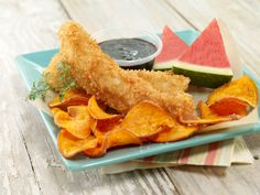 Watermelon Board   Fish and Chips With Watermelon Reduction