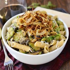Mushroom and Brussels Sprouts Penne with Crispy Fried Shallots is a delicious meatless main with a tasty oniony crunch!