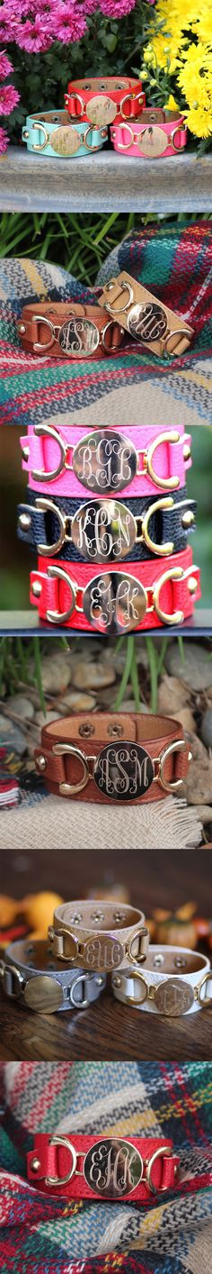 The perfect arm accessory this fall! Monogrammed Leather Cuff Bracelets from Marleylilly.com!