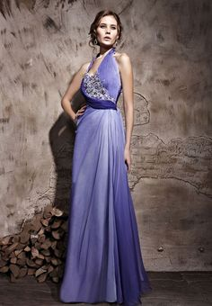 Lilac Halter Special Occasion Prom Formal Ball Long Evening Dress - Merpher.L