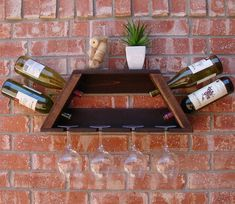 Geometric Trapezoid 4 Bottle Wine Rack with Shelf and 4 Glass Slot Holder