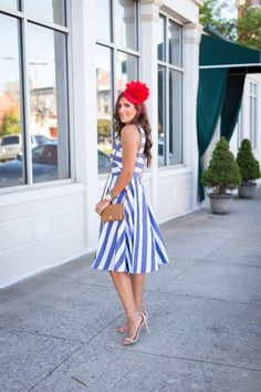 stripe midi dress, kentucky derby hat, floral fascinator, spring stripe dress, stripe fit and flare dress, gold monogram necklace, tory burch foldover crossbody bag, kentucky derby outfit, what to wear to the kentucky derby, kentucky oaks, red fascinator, wedding guest outfit, eliza j dress, preppy outfit ideas, preppy fashion, spring dress, spring fashion, preppy spring outfit, preppy spring fashion, preppy spring dress, large monogram necklace, kentucky derby attire // grace wainwright a…