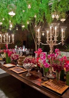 love the candelabras and hanging lights