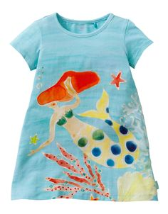 Summery t-shirt in elastic cotton with mermaid print.