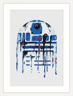 Star Wars Cross Stitch PDF pattern R2D2 - Watercolor - Silhouette On 14-count aida the design measures 6.00 * 8.64 inches / 15.24w X 21.95h cm / 84w X 121h Stitches. Sizes will change with count size. Design used 16 DMC thread colors. This pattern is in PDF format and consists