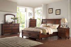 McFerran Home Furnishings - B608 5 Piece California King Bedroom Set in Cherry - B608-CK-5SET