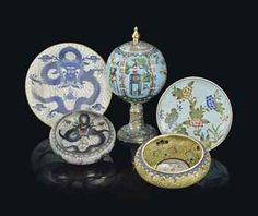 A small container in this cloisonné would be pretty :) - A GROUP OF CHINESE CLOISONNÉ ENAMEL WARES 19TH/20TH CENTURYhttp://www.christies.com