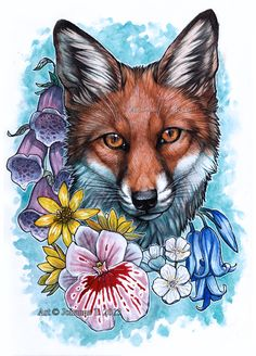 Fox In Forest Flowers ~ by Lhuin on deviantART Colored Tattoo Design, Fox Tattoo Design, Cool Art Drawings, Animal Drawings, Forrest Drawing, Fox Tattoos, Tree Tattoos, Deer Tattoo, Raven Tattoo
