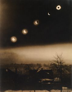 """burnedshoes: """" © Conningham & O'Brien, Jan. Total eclipse of the sun On a cold snowy January day, the moon's shadow crossed the surface of the sun over a period of less than a minute. In this pictorial photograph, which was created by. Solar Eclipse 2017, Moon Shadow, Multiple Exposure, Total Eclipse, Moon Magic, Penny Dreadful, Vintage Photographs, Fantasy Creatures, Old Photos"""