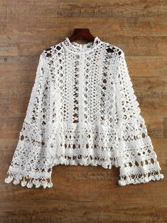 $23.49 Bell Sleeve Mock Neck Crochet Top WHITE: Blouses | ZAFUL