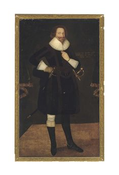 English School, circa 1625 , Portrait of Peregrine Bertie, Lord Willoughby de Eresby full-length, in a black doublet and pantaloons