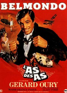 """Dans les années 80, BELMONDO est une Star populaire, et joue dans plusieurs comédies d'action, notamment dans ces deux particulièrement réussies, et qui ont contribuées à son statut de """"légende vivante"""", 1981, """"Le Professionnel"""" de Georges LAUTNER avec la belle Cyrielle CLAIRE et en 1982, """"L'as des as"""" de Gérard OURY, maître de la comédie. (affiches et photos des 2 films respectifs)."""