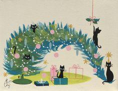EL GATO GOMEZ RETRO VINTAGE CHRISTMAS TREE HOLIDAY MID CENTURY MODERN BLACK CATS  | eBay