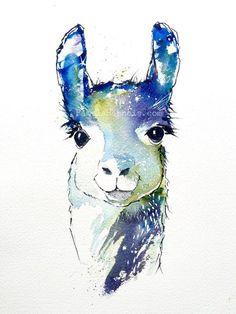 FREE Shipping with coupon code! Llamas, Watercolor Art, Art Print, Baby Shower, Baby Gift, Birthday, Children's Arts, Llamas, Pamela Harnois #watercolorarts