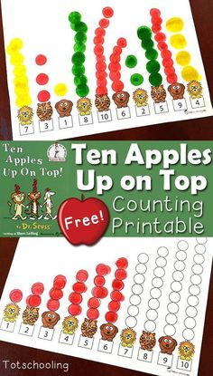 FREE printable book activity to go along with the classic Dr. Seuss book Ten Apples Up on Top. Perfect counting activity for toddlers and preschoolers for the Fall, Apple theme and Back to School season.