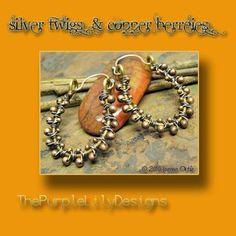 Silver Twigs and Copper Berries, Mixed Metal Hoops, ThePurpleLilyDesigns. $28.50, via Etsy.