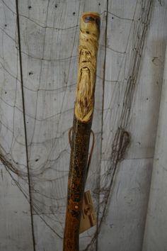 Walking Stick, Staff, Wood Spirit Walking Stick Carving, Hand Carved Wood Spirit Hiking Stick, Mountain Man Wood Carvers of Etsy, 1060