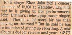 John, Elton / Giving Up Live Performances | Magazine Article (1977)