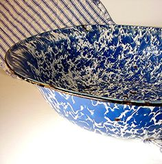 Vintage Enamelware Blue White Swirl Bowl