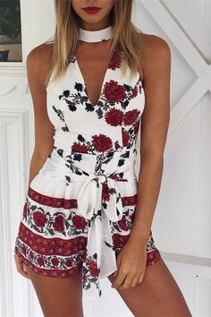 PINTEREST x CHANELLE ROSEGOLD Print Sleeveless Flower Halter Strappy Romper Jumpsuit