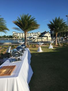 Yacht Club Lawn Buffet and Carving Station Setup #Wedding #Reception #Buffet #CarvingStation #Highboy #Tables #Decor