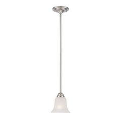 Elizabeth Brushed Nickel One-Light Mini Pendant with Frosted Glass