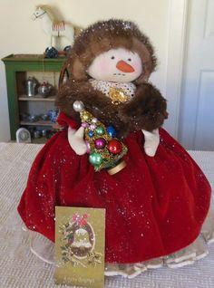 """Primitive Snowman Doll """"Hattie"""" Vintage Mink Hat Petticoat Christmas Postcard #NaivePrimitive #Atist"""