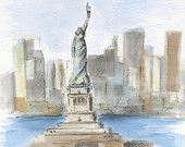 Statue of Liberty sketch. Liberty Island. Manhattan painting. NYC painting. Watercolor painting. Urban sketch. Cityscape. Original. 8x10