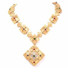 1970'S Vintage Diamond Multi Gemstone gold Pendant Necklace
