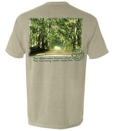 Country Road – After Hours Clothing Co.    comfort colors, sandstone, pigment dyed, fabric, pocket tees, t-shirts, apparel, company, photo print, screenprinted tees, graphic tees, made in the US, ship nationwide, after, hours, summer t-shirt, spring, summer, dirt road, georgia clay, trees, canopy road, photo print, brian dekle (photographer), yellow, green, brown, black, natural colors, real photo, south georgia, grady county, afternoon knows what the morning never expected, quote