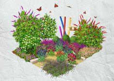 Der Duft von blühendem Gehölz liegt in der Luft. Lavendel oder Schafgarbe dominieren den Schauplatz, der von Schmetterlingen und Bienen belebt wird.