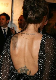 Angelina Jolie Back Tattoo | Tattoos Pictures