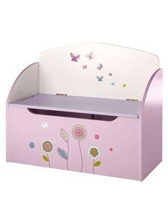 Baúl de almacenaje con banco Flor gráfica - violeta claro bicolor/multicol