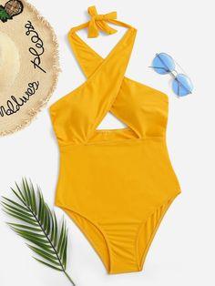 4fdae36b73 Criss Cross Low Back One Piece Swimsuit   SHEIN