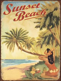 Sunset Beach Tin Sign