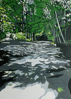 Shaded Path original linocut of forest path, hiking in Seattle