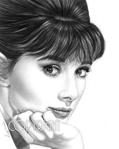 Audrey Hepburn Pencil Drawing Celebrity Portrait by TheBerryPress, $15.00