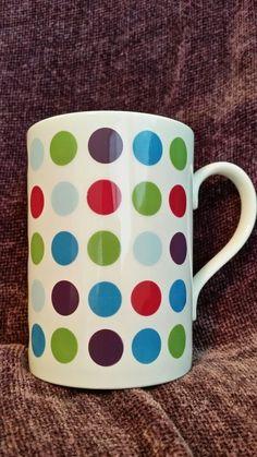 Vintage Tams English Bone China Tea Coffee Mug Multi-Color Polka Dots 12 oz EUC! #TAMS